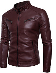 cheap -Men's Round Neck Faux Leather Jacket Regular Solid Colored Practice Winter Long Sleeve Black / Yellow / Wine M / L / XL