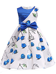 cheap -Kids Girls' Vintage / Sweet Party / Holiday Cherry Fruit Bow / Print Short Sleeve Midi Cotton / Acrylic Dress Blue 3-4 Years(110cm)