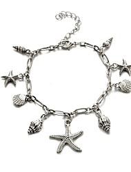 abordables -Femme Bracelet de cheville Classique Étoile de mer dames Classique Décontracté / Sport Mode Bracelet de cheville Bijoux Argent Pour Carnaval Vacances