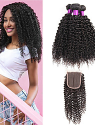 cheap -3 Bundles with Closure Peruvian Hair Curly Human Hair Natural Color Hair Weaves / Hair Bulk One Pack Solution Human Hair Extensions 8-22 inch Natural Natural Color Human Hair Weaves Best Quality 100