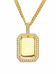 cheap -Men's Cubic Zirconia Pendant Necklace Chain Necklace Hollow Out Cuban Link Precious Medal European Trendy Hip-Hop Hip Hop Copper Rhinestone Steel Stainless Gold Silver 60 cm Necklace Jewelry 1pc For