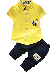 cheap -Toddler Boys' Basic Solid Colored Short Sleeve Clothing Set White