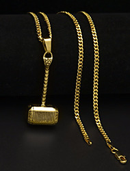 cheap -Men's Pendant Necklace Chain Necklace Cuban Link Thick Chain Mini Hammer Unique Design European Hip-Hop Steel Stainless Gold Silver 60 cm Necklace Jewelry 1pc For Gift Street