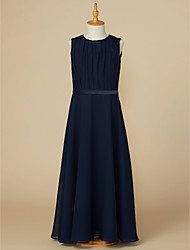 cheap -A-Line Jewel Neck Ankle Length Chiffon Junior Bridesmaid Dress with Sash / Ribbon / Ruching