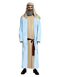cheap -Arabian Costume Men's Adults Halloween Halloween Carnival Masquerade Festival / Holiday Polyster Outfits Ink Blue Solid Colored Halloween