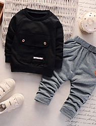 cheap -Baby Boys' Basic Daily Print Long Sleeve Regular Regular Clothing Set Black / Toddler