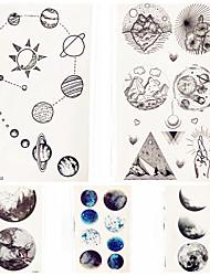 Недорогие -5 pcs Временные татуировки Тату с тотемом / Мультипликационные серии Гладкий стикер / Экологичные Искусство тела руки / рука / запястье / Временные татуировки в стиле деколь