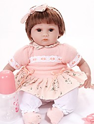 cheap -FeelWind Reborn Doll Girl Doll Baby Girl 16 inch lifelike Hand Made Hand Rooted Mohair Tipped and Sealed Nails Artificial Implantation Brown Eyes Kid's Girls' Toy Gift