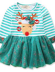 cheap -Baby Girls' Active / Street chic Christmas / Daily / Holiday Print / Christmas Embroidered Long Sleeve 50-60 cm Dress Light Blue / Toddler