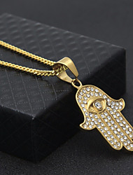 cheap -Men's Cubic Zirconia Pendant Necklace Chain Necklace Cuban Link Evil Eye Statement Trendy Hip-Hop Rhinestone Steel Stainless Gold 60 cm Necklace Jewelry 1pc For Party / Evening Street