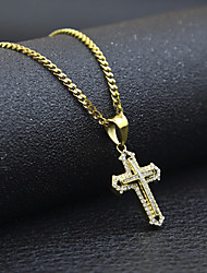 cheap -Men's Cubic Zirconia Pendant Necklace Chain Necklace Stylish Cuban Link franco chain Cross Faith Stylish European Hip-Hop Hip Hop Rhinestone Steel Stainless Gold 60 cm Necklace Jewelry 1pc For Street