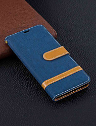 cheap -Case For Nokia Nokia 5.1 / Nokia 3.1 / Nokia 2.1 Wallet / Card Holder / with Stand Full Body Cases Solid Colored Hard Textile