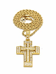 cheap -Men's Cubic Zirconia Pendant Necklace Chain Necklace Stylish Link / Chain Foxtail chain Cross Faith Vintage European Hip-Hop Rhinestone Alloy Gold Silver 60 cm Necklace Jewelry 1pc For Gift Street