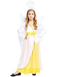 cheap -Princess Costume Flower Girl Dress Kids Girls' A-Line Slip Halloween Halloween Carnival Children's Day Festival / Holiday Polyster White Carnival Costumes Solid Colored Halloween / Wings / Headwear