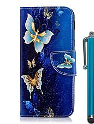 abordables -Coque Pour Nokia Nokia 8 / Nokia 6 2018 / Nokia 5.1 Portefeuille / Porte Carte / Avec Support Coque Intégrale Papillon / Fleur Dur faux cuir