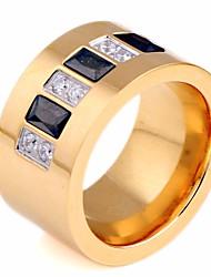 Недорогие -Для пары Кольца для пар Синтетический алмаз 1шт Золотой Нержавеющая сталь Круглый Геометрической формы Дамы Стиль Художественный День рождения Подарок Бижутерия Стильные Креатив Cool