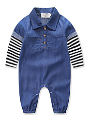 cheap -Baby Boys' Street chic / Punk & Gothic Holiday Solid Colored / Striped Stripe / Denim Long Sleeve Overall & Jumpsuit Light Blue / Toddler