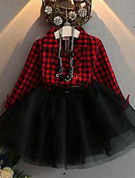 cheap -Kids Girls' Sweet Street chic Daily Going out Plaid Patchwork Mesh Long Sleeve Dress Black