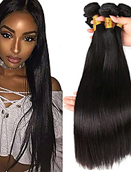 cheap -4 Bundles Indian Hair Straight Human Hair 200 g Natural Color Hair Weaves / Hair Bulk Extension Human Hair Extensions 8-28 inch Black Natural Color Human Hair Weaves Extention Natural Best Quality