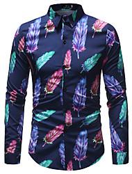 Недорогие -Муж. Большие размеры Контрастных цветов С принтом Тонкие Рубашка Деловые Классический Повседневные Для клуба Классический воротник Темно синий / Длинный рукав
