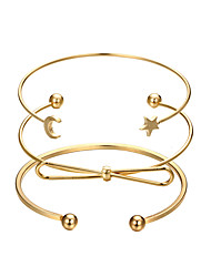 cheap -3pcs Women's Cuff Bracelet Layered Classic Moon Star Ladies Simple Classic Fashion Alloy Bracelet Jewelry Gold For Going out Birthday