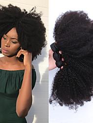 Недорогие -3 Связки Монгольские волосы Афро Квинки Натуральные волосы 150 g One Pack Solution Плетение 10-26 дюймовый Ткет человеческих волос Расширения человеческих волос / 8A