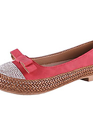 cheap -Women's Flats Flat Heel Round Toe Bowknot PU Comfort Summer Black / Fuchsia / Yellow
