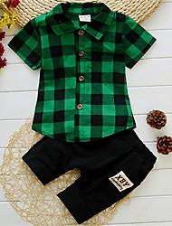 cheap -Baby Boys' Basic Daily Plaid Short Sleeve Regular Clothing Set Blue / Toddler