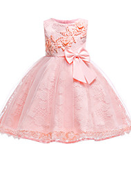 cheap -Baby Girls' Vintage Going out / Birthday Solid Colored Sleeveless Knee-length Cotton Dress Blushing Pink