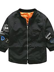 cheap -Kids Boys' Basic Punk & Gothic Daily School Print Long Sleeve Regular Cotton Jacket & Coat Black