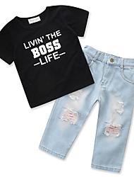 cheap -Kids Boys' Basic Print Short Sleeve Regular Clothing Set Black