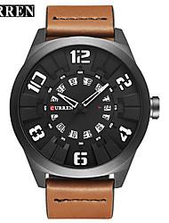 cheap -CURREN Men's Dress Watch Bracelet Watch Quartz Genuine Leather Black / Khaki Water Resistant / Waterproof Calendar / date / day New Design Analog Classic Casual Fashion - Black / White Black / Blue