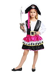 cheap -Pirate Costume Flower Girl Dress Teen Girls' A-Line Slip Halloween Halloween Carnival Children's Day Festival / Holiday Polyster Black Carnival Costumes Solid Colored Halloween / Top / Skirt / Hat