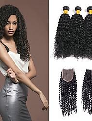 cheap -3 Bundles with Closure Indian Hair Kinky Curly Human Hair Unprocessed Human Hair Natural Color Hair Weaves / Hair Bulk Bundle Hair One Pack Solution 8-20 inch Natural Color Human Hair Weaves Soft New