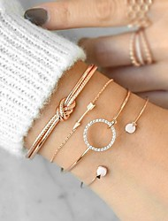 cheap -4pcs Women's Bracelet Vintage Style Creative Ladies Simple Fashion Elegant Resin Bracelet Jewelry Gold / Silver For Gift Birthday / Rhinestone
