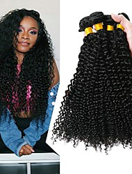 cheap -4 Bundles Brazilian Hair Curly Human Hair Natural Color Hair Weaves / Hair Bulk Extension 8-28 inch Black Natural Color Human Hair Weaves Classic Best Quality Hot Sale Human Hair Extensions / 8A