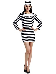 cheap -Prisoner Costume Women's Highschool Halloween Halloween Carnival Masquerade Festival / Holiday Polyster Outfits Black Solid Colored Striped Halloween