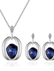 cheap -Women's Necklace Earrings Stylish Solitaire Ladies European Fashion Elegant Rhinestone Earrings Jewelry Purple / Red / Blue For Daily Evening Party