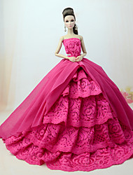 cheap -Doll accessories Doll Clothes Doll Dress Wedding Dress Party / Evening Dresses Wedding Ball Gown Lines / Waves Multi Color Lace Tulle Poly / Cotton Lace For 11.5 Inch Doll Handmade Toy for Girl's