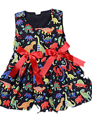 cheap -Baby Girls' Basic Daily Dragon Print Sleeveless Regular Above Knee Dress Black / Toddler