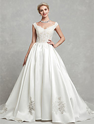 cheap -Ball Gown Wedding Dresses V Neck Chapel Train Lace Satin Cap Sleeve with Lace Beading Appliques 2020