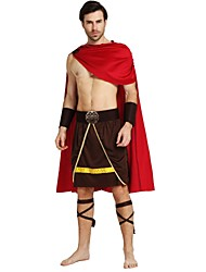 cheap -Soldier / Warrior Costume Men's Highschool Ancient Greek Ancient Rome Halloween Halloween Carnival Masquerade Festival / Holiday Polyster Outfits Brown Solid Colored Halloween