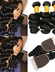 cheap -3 Bundles with Closure Indian Hair Loose Wave Human Hair Unprocessed Human Hair Natural Color Hair Weaves / Hair Bulk Bundle Hair One Pack Solution 8-20 inch Natural Color Human Hair Weaves Smooth