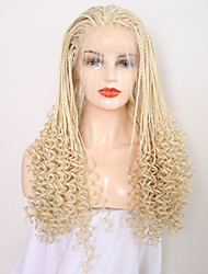 cheap -Synthetic Lace Front Wig Curly Braid Lace Front Wig Blonde Long Light Blonde Synthetic Hair 24 inch Women's Adjustable Heat Resistant Blonde