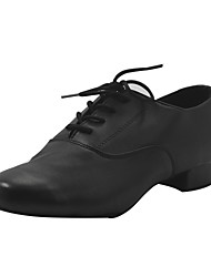 cheap -Boys' Modern Shoes Ballroom Shoes Heel Thick Heel Black Lace-up