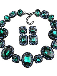 cheap -Women's Crystal High End Crystal Stud Earrings Choker Necklace Statement Necklace Thick Chain Hollow Flower Blessed Statement Ladies Luxury Geometric Elegant Earrings Jewelry Red / Green / Blue For