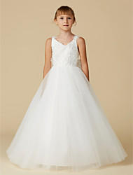 cheap -A-Line Floor Length Flower Girl Dress - Lace / Tulle Sleeveless V Neck with Bow(s) / Flower by LAN TING BRIDE®