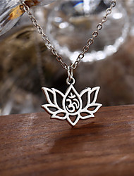 cheap -Women's Pendant Necklace Charm Necklace Long Flower Ladies Simple Fashion Alloy Silver 48 cm Necklace Jewelry 1pc For Party / Evening Gift