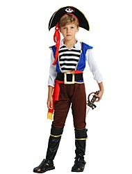 cheap -Pirate Costume Kids Boys' Halloween Halloween Carnival Children's Day Festival / Holiday Polyster Coffee Carnival Costumes Solid Colored Striped Halloween