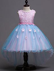 cheap -Kids Girls' Sweet Party Daily Patchwork Mesh Sleeveless Dress Blushing Pink